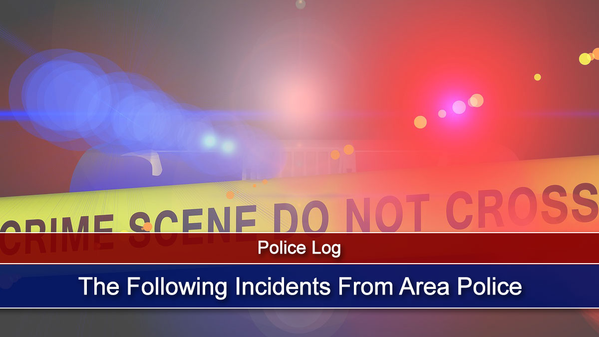 The Following Incidents Were Reported by Area Police