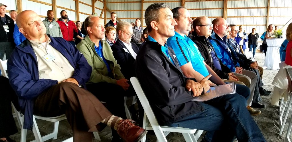 Community leaders, neighbors turned out Thursday for long awaited ground breaking for Herbruck's Poultry Ranch facility in Montgomery Township near Merrcersburg.