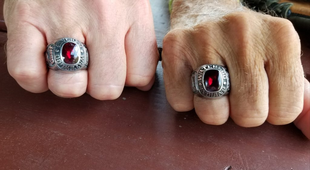 Everett Rey and Dane Anthony show off their 1980 League Championship rings.(Photo by Vicky Taylor)