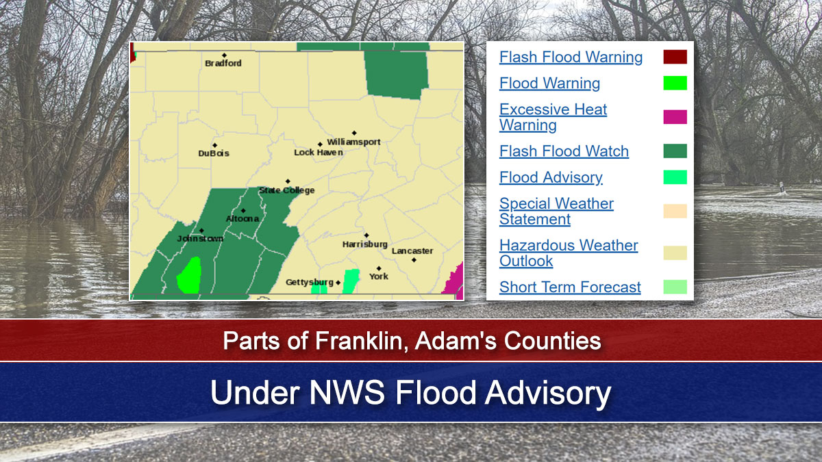 Parts of Franklin, Adam's Counties Under NWS Flood Advisory