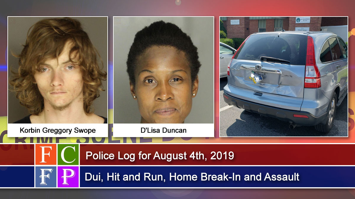 Police Log for August 4th, 2019