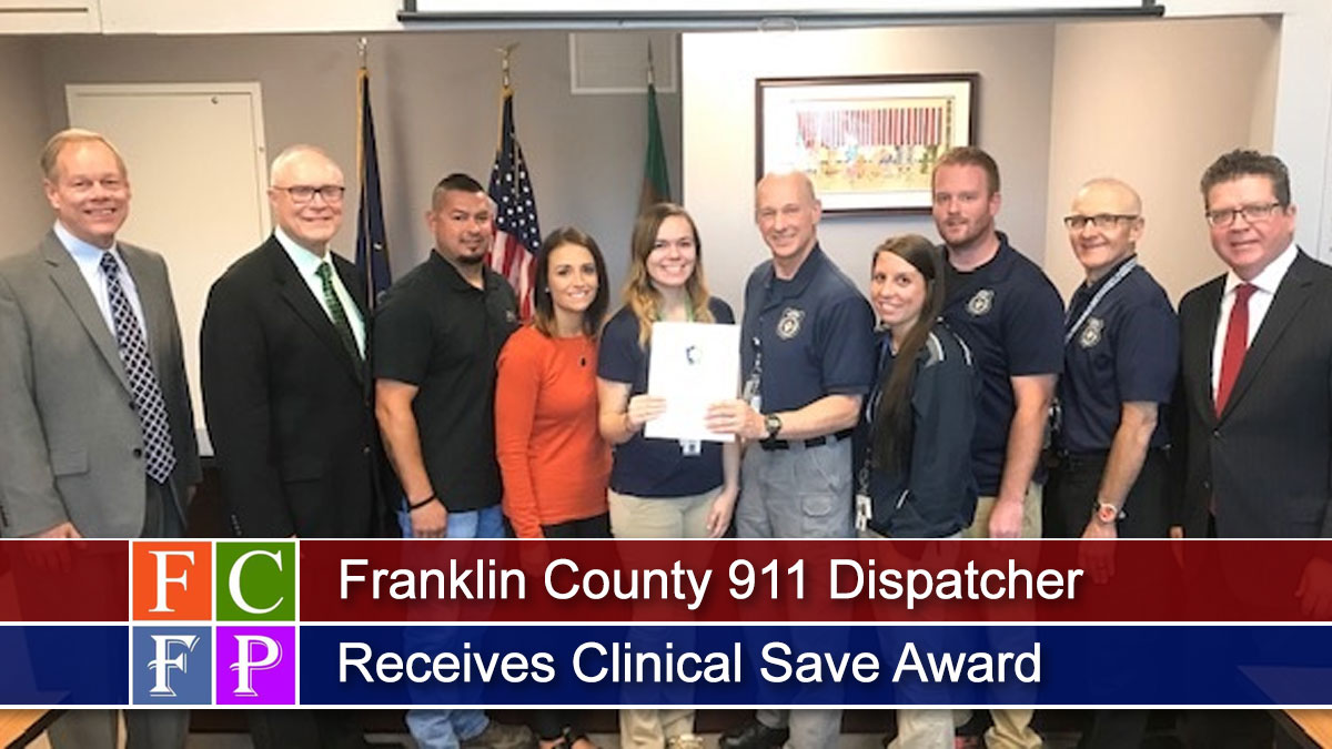 Franklin County 911 Dispatcher Receives Clinical Save Award