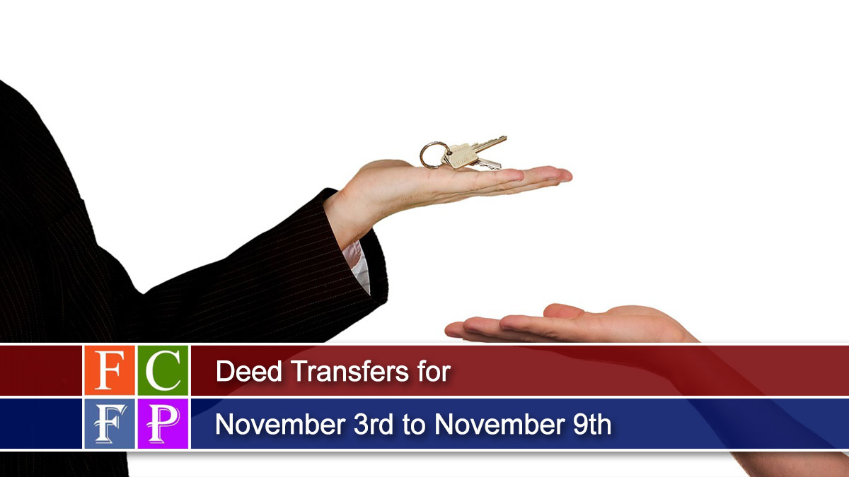 Deed Transfers for November 3rd to November 9th