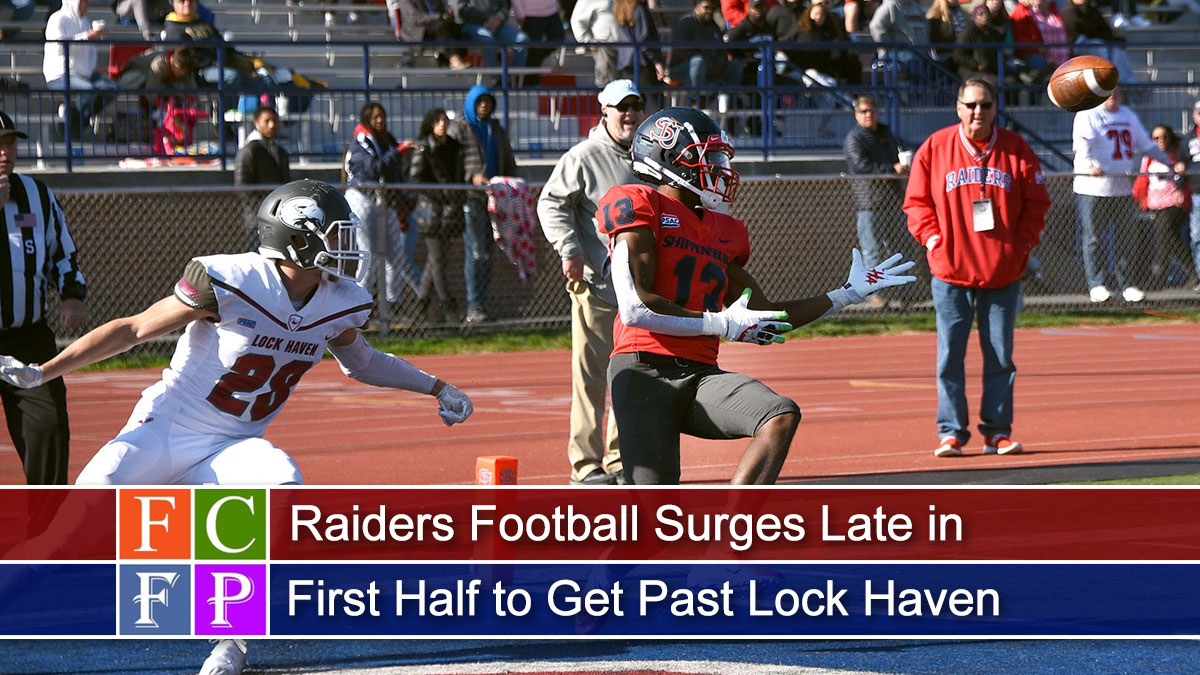 Raiders Football Surges Late in First Half to Get Past Lock Haven, 65-32