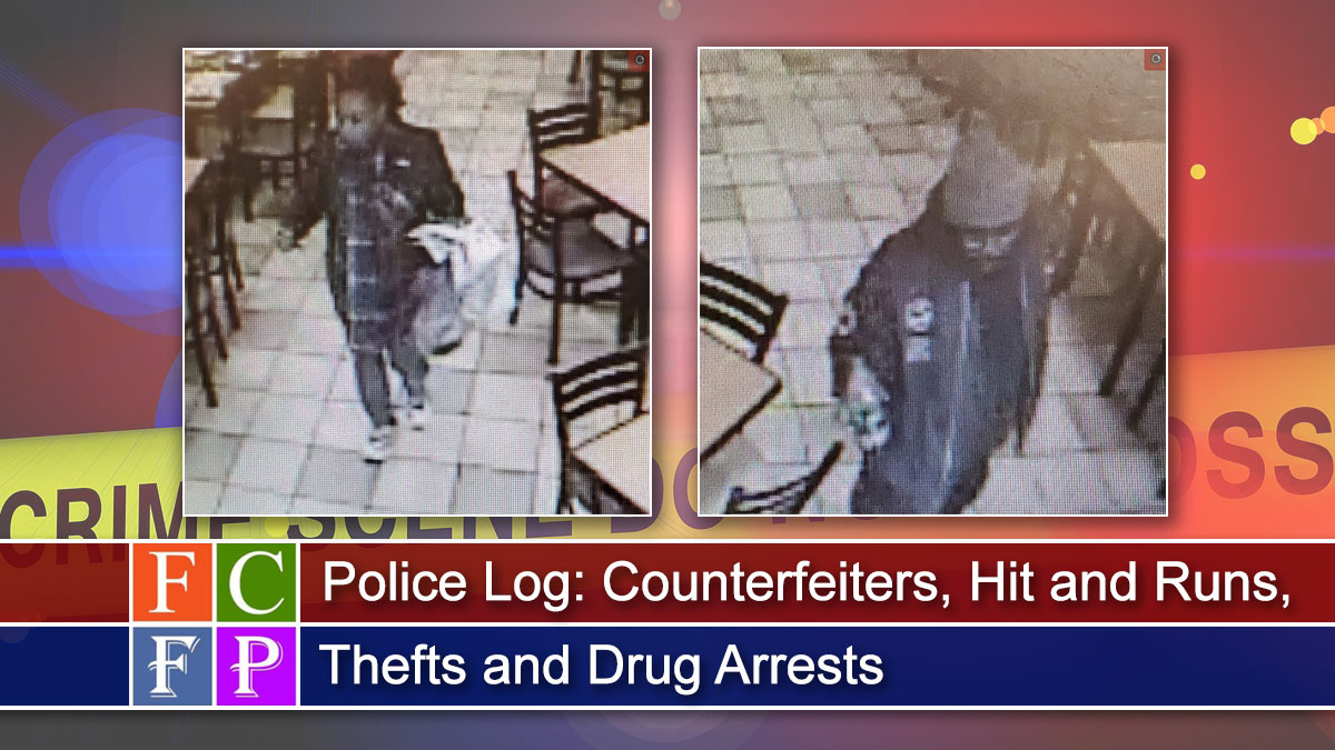 Police Log: Counterfeiters, Hit and Runs, Thefts and Drug Arrests