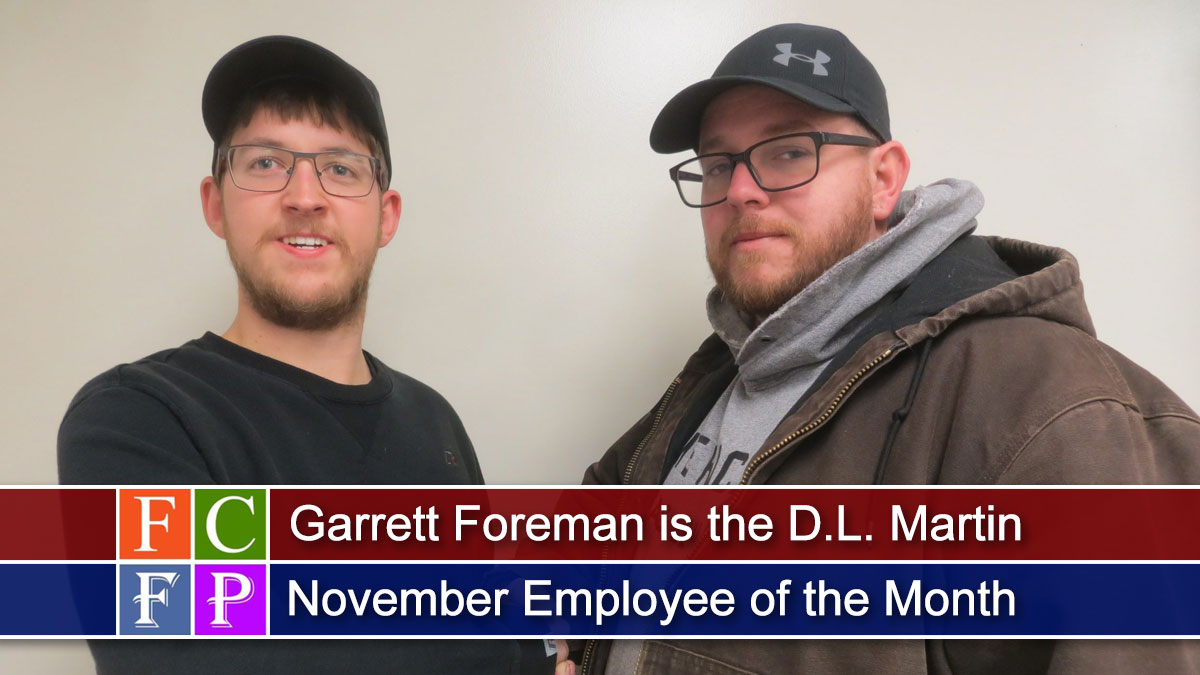 Garrett Foreman Is the D.L. Martin November Employee of the Month