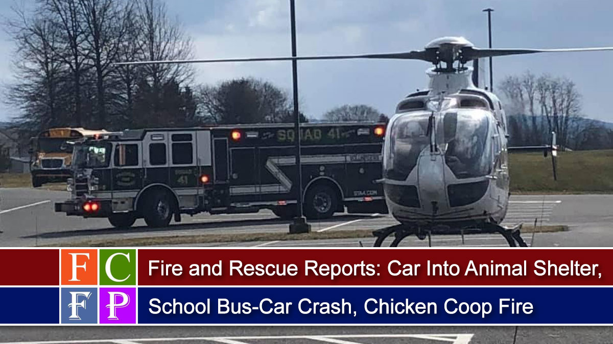 Fire and Rescue Reports: Car Into Animal Shelter, School Bus-Car Crash, Chicken Coop Fire