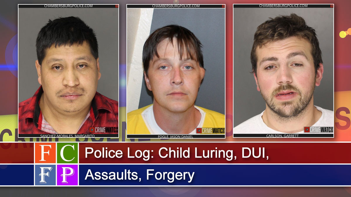 Police Log: Child Luring, DUIs, Assaults, Forgery