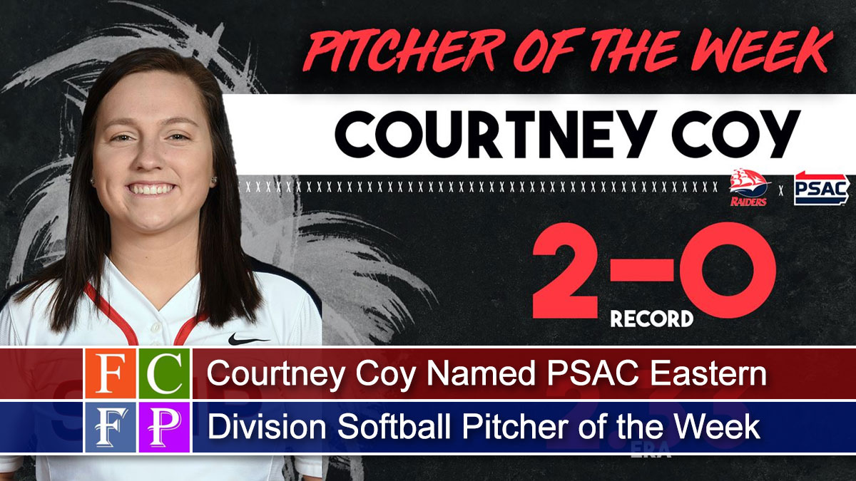 The Pennsylvania State Athletic Conference (PSAC) Eastern Division named Shippensburg University junior Courtney Coy (Shippensburg, Pa./Shippensburg Area) Softball Pitcher of the Week on Monday.